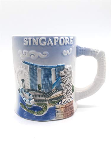 Weekinglo Merlion Park Marina Bay Sands Singapore 3D Emboss Handpainted Ceramics Coffee Mug Cup Handmade Craft Tourist Travel Souvenir Collection Gift 12 Ounce ()