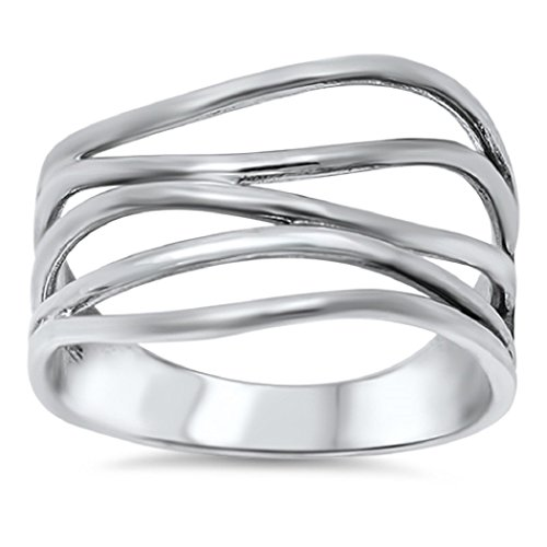 Sterling Silver Crooked Lines Filigree