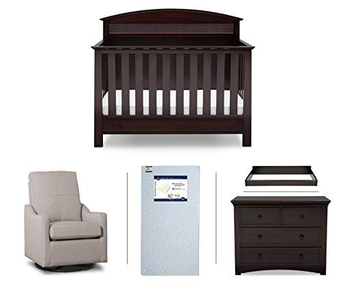 Serta Ashland 5-Piece Nursery Furniture Set (Serta Convertible Crib, 4-Drawer Dresser, Changing Top, Serta Crib Mattress, Glider), Dark Chocolate/Beige