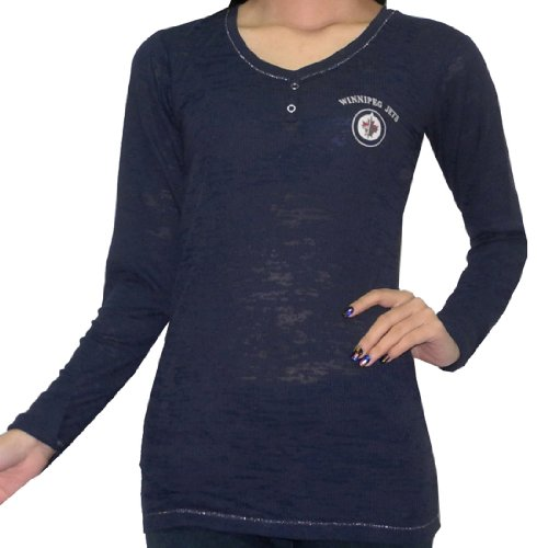 NHL WINNIPEG JETS Womens Slim Fit Casual Lounging T Shirt (Vintage Look) – Sports Center Store