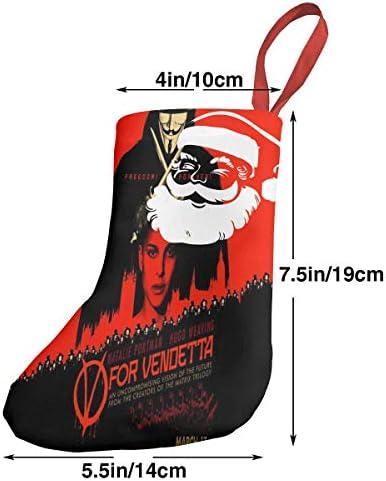 クリスマスの日の靴下 (ソックス3個)クリスマスデコレーションソックス V For Vendetta クリスマス、ハロウィン 家庭用、ショッピングモール用、お祝いの雰囲気を加える 人気を高める、販売、プロモーション、年次式