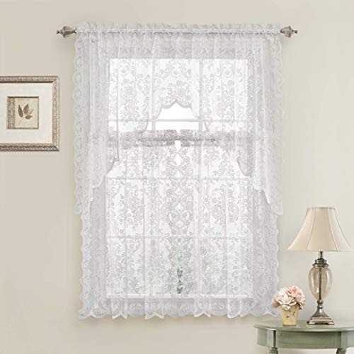 GoodGram Lena Floral Lace Complete 3 Pc. Cottage Kitchen Curtain Tier & Swag Valance Set - Assorted Colors (White)