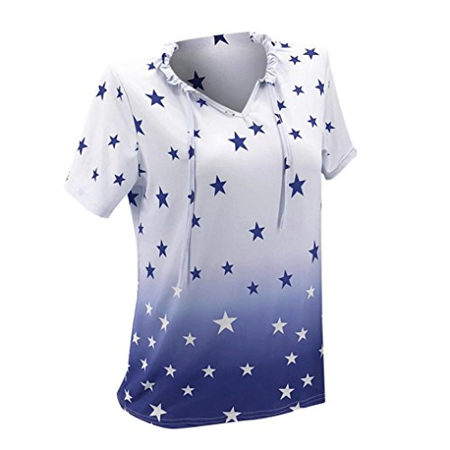 iOPQO 2018 Lady Star Print O Neck Casual Blouse Shirt top T Shirt (S – L5) – DiZiSports Store