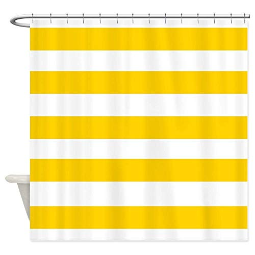 Yellow Stripe Shower Curtain - OneHoney Yellow and White Stripes Shower Curtain,Waterproof and Mildewproof Polyester Fabric Bath Curtain Extra Long 72x84inch