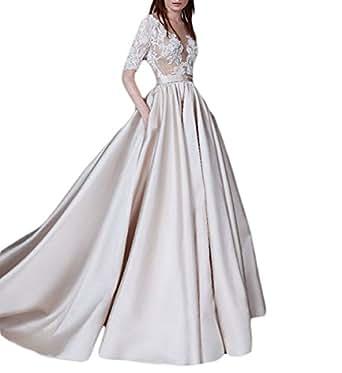 Mr.ace Homme A-Line Illusion Sheer Lace Vestidos de novia
