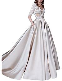 A-Line Illusion Sheer Lace Vestidos de novia 2017 Wedding Dresses With Half Sleeves M0331