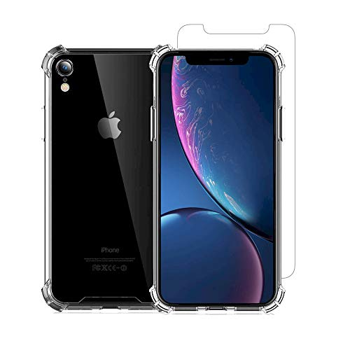 - DaVoice Brand Compatible with Apple iPhone XR Case with Screen Protector, iPhone XR Clear Case, iPhone XR Tempered Glass Screen Protector iPhone XR Case Clear Slim Thin Shockproof Bumper Silicone Case