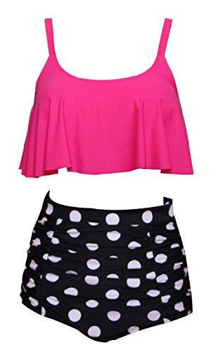 - Ruffle High Waisted Soft Comfortable Tankini Floral Pin Up Bikini-KJ5476-RTPB4