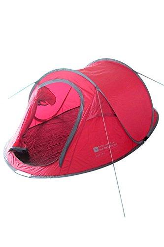 Mountain Warehouse Pop-Up Zelt 3-Personen Wurfzelt Camping Festival Erwachsener Jugendliche Rot