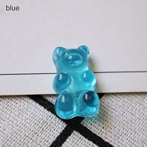 ZAMTAC Figurines Miniatures Home Decor Flatback Food DIY Resin Sugar Dollhouse Cute Bear Design 20pcs QQ Gummy Candy Stationery Box - (Color: Blue) from ZAMTAC