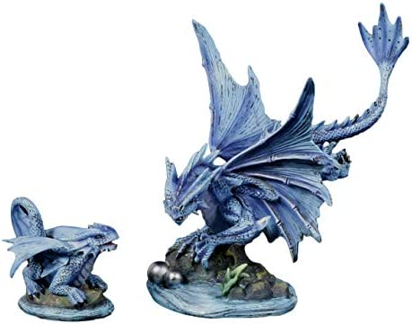 Ebros Large Aqua Elemental Pearl Water Dragon Collectible Statue Mythical Fantasy Age of Dragons Behemoth of The Sea Figurine Artwork by Anne Stokes Adult and Baby Dragons Set