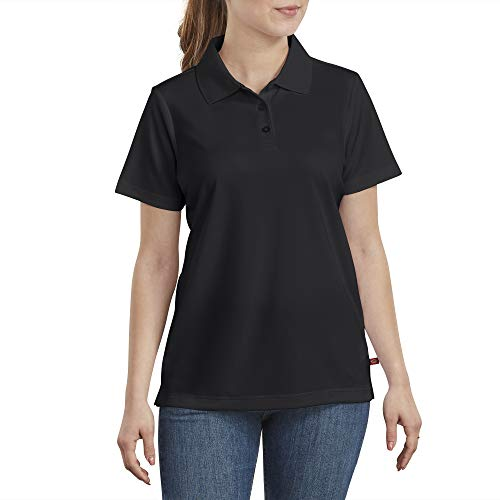 dickies Women's Performance Polo with Silvadur Antimicrobial Protection, Black, Large