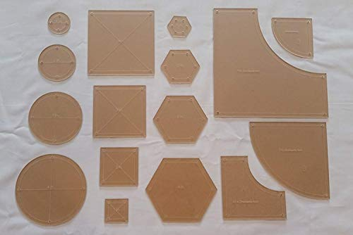 Drunkards Path, Hexagon, Circle, and Square Acrylic Quilting Templates, 4