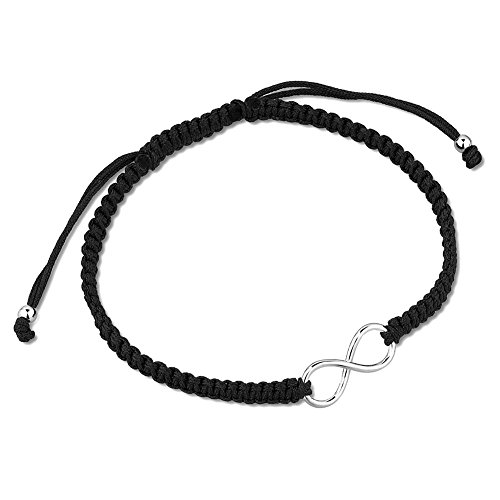 (925 Sterling Silver Sideways Infinity Charm Black Polyester Adjustable Drawstring Wrap Bracelet)