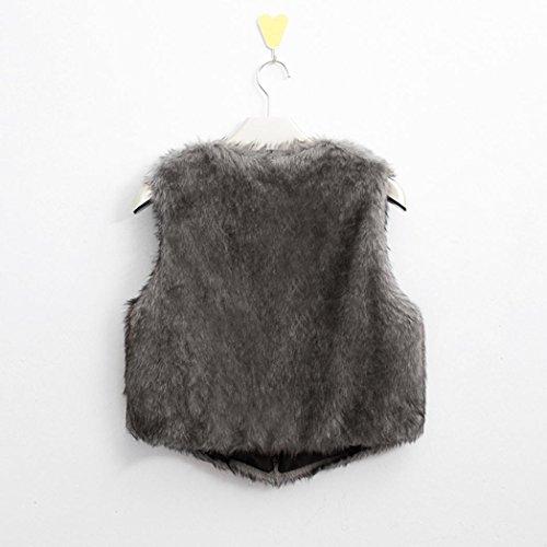 Internet de Escudo mujeres piel las Gilet abrigo Chaleco mangas Coat las Gris de sintética Outwear Shrug de mujeres Chaqueta la sin del chaleco 55vrwa