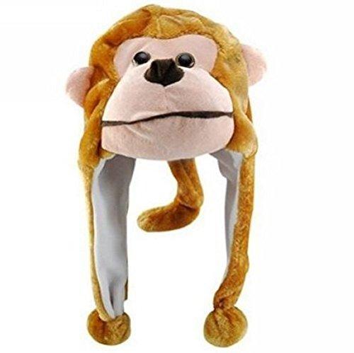 Animal Hat Plush Beanie Winter Ear Warm Fluffy Cap Earmuff (monkey)