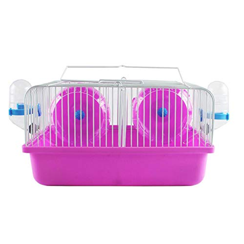 SMOOTHEDO Hamster Cage Set for Two Date Cage Transparent Pet Portable Carrier Carry Case Cottage Small Animal Habitat with Hamster Wheel, Water Bottle and Hideout