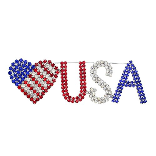 Rosemarie Collections Women's Patriotic Red White Blue Flag Stars and Stripes Forever Brooch ()