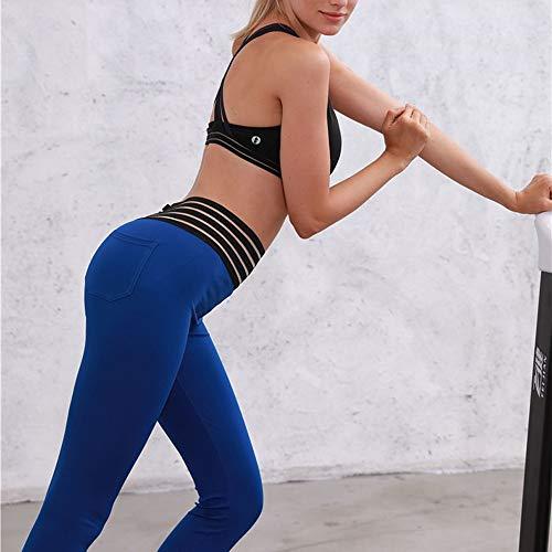 Pantalon Slim Courir Yoga Sport Fitness Stretch Leggings Bleu Haute Femme Taille SANFASHION TSX6p