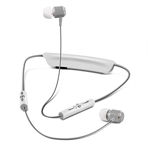 Around The Neck Sweatproof Sport Bluetooth Wireless Headphones, Aduro Amplify Ultra Headset with Mic, Inline Controls, Noise & Echo Reduction for iPhone Galaxy and All Bluetooth Devices (White/Gray)