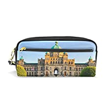 ALAZA London Palace Pencil Case Zipper PU Leather Pen Bag Cosmetic Makeup Bag Pen Stationery Pouch Bag Large Capacity