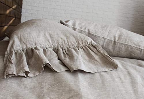 Standard Linen Pillow Sham with Mermaid Long Ruffle on one side - 20'' X 26