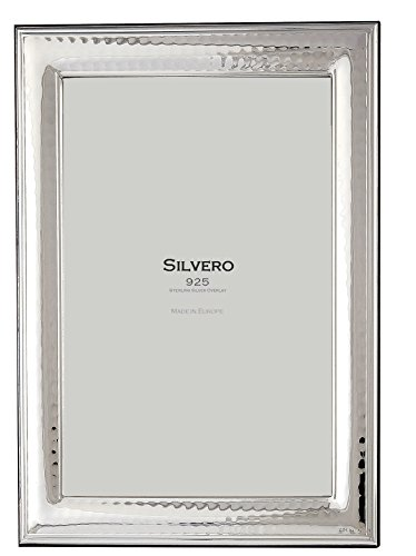 925 Sterling Silver Photo Frame - SILVERO 410W57 .925 Sterling Silver Overlay Hammered 5x7 Frame