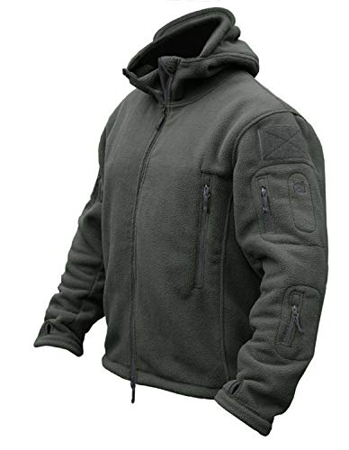 (CRYSULLY Men's Autumn Winter Military Tactical Jackets Camping Sailing Field Fleece Jacket Snow Coat Gray)