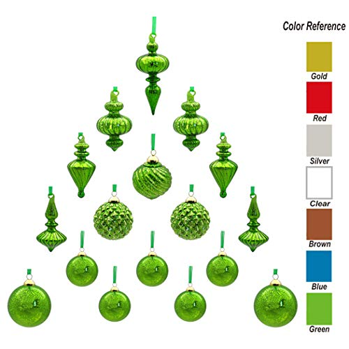 youseexmas Mouth Blown Glass Christmas Ornaments Pack of 17 Medium Size (Green)