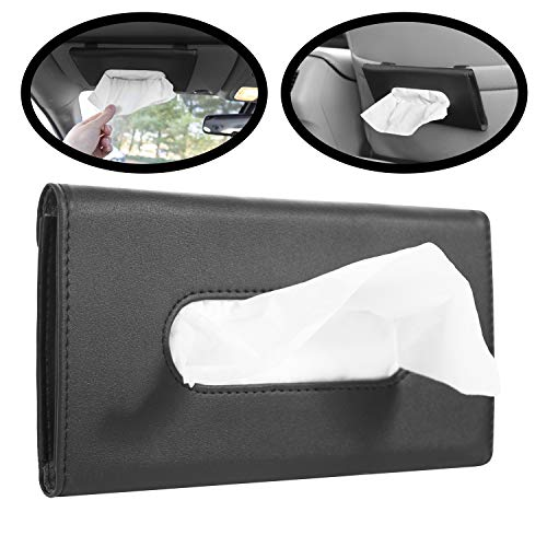lebogner Car Sun Visor Tissue Holder, PU Leather Black Tissue Dispenser Hanging Case to Clip On Your Car Door Or Back Seat Pocket, Interior Accessories Pouch for Wipes, Bonus Pack of Napkins Included