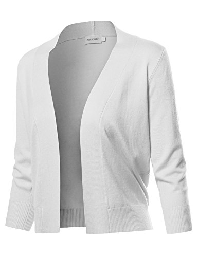 Solid Soft Stretch 3/4 Sleeve Layer Bolero Cardigan White Size S