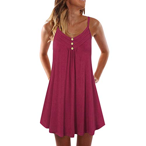 DONTAL Women Sleeveless Spaghetti Strap Double Breasted Plain Shift Dress Above Knee Mini Dress Red