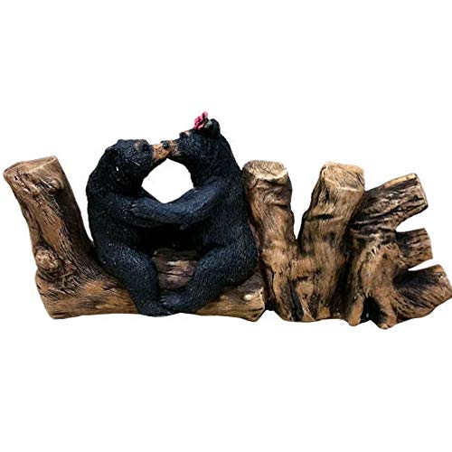 (Romantic Black Bear Couple In Courtship On Wooden