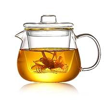 8T8 Modern Glass Teapot with Infuser & Lid, 19oz Borosilicate Glass Penguin Tea Pot Safe for Stove Top Loose Tea Leaf (550ml)