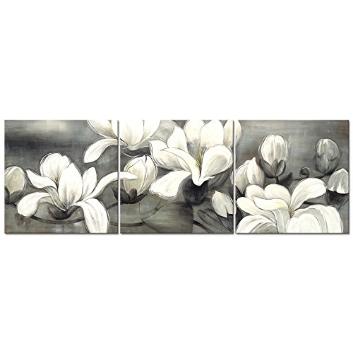 - Wieco Art Magnolia Flowers Canvas Prints Wall Art 3 pcs White and Grey Floral Pictures Paintings Ready to Hang for Living Room Bedroom Home Decorations Modern Stretched and Framed Grace Giclee Artwork