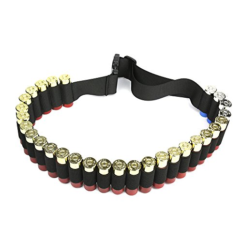 Shotgun Shell Bandolier Belt 12/20 Gauge Ammo Holder for Tactical Military Hunting(29 Rounds, 51.2'' x 1.98'') Black Ammo Belt
