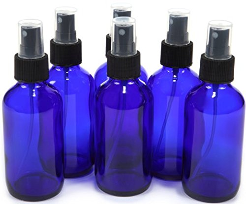 4 oz Cobalt Blue Glass Bottles, with Black Fine Mist Sprayer (Pack of 6)