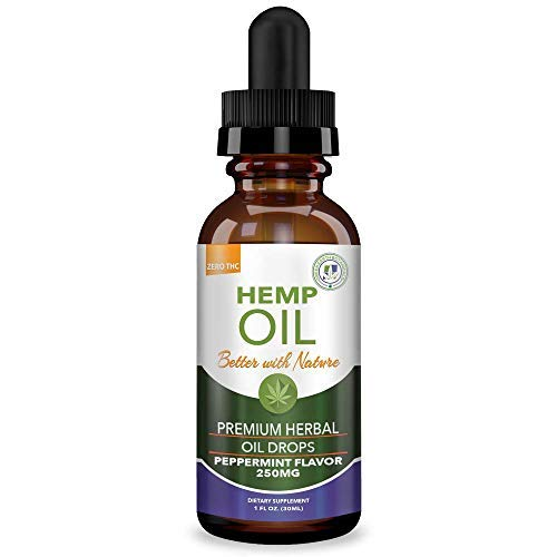 Hemp Oil 250mg for Fast Relief :: Anxiety, Inflammation, Pain, Sleep, Nausea, Depression :: MCT Oil Packed with Omega 3,6 Fatty Acids :: Better with Nature 30 Day Supply :: Peppermint Flavor (Best Cannabis For Anxiety)