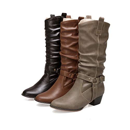 Peluche Peluche Boots Sintetica Stivali Fodera 34 Tacco Blocco Blocco Blocco Scarpe Pelle con con Stivaletti Donna Calde 43 Dimensione in Nero Autunno Casuale in Inverno Stivale Comodi Moda tRqxPZ