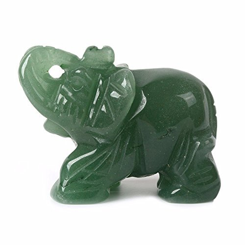 Small Elephant Figurine - Carved Natural Green Aventurine Gemstone Elephant Healing Guardian Statue Figurine Crafts 2 inch