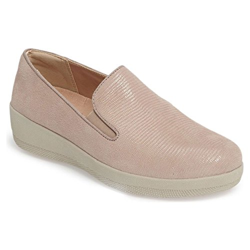 FitFlop Women's Superskate Lizard-Print Suede Loafer Flat, Nude Pink, 7 M US