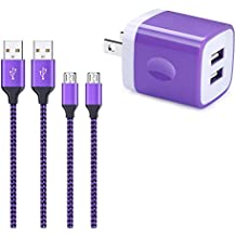 Wall Charger, Fivebox 2.1A USB Wall Charger Brick Case Base Charging Block Plug Phone Charger Box Cube Dock With 2-Pack 6ft Micro Usb Cable Charger Cord For Samsung Galaxy S6 S7 Plus Edge J3 J7 LG K20