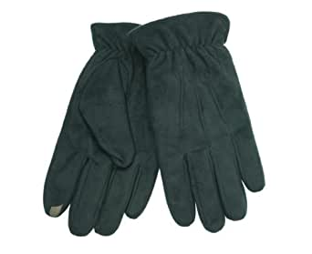 Isotoner Mens SmarTouch Faux Suede Lined Winter Gloves Black L