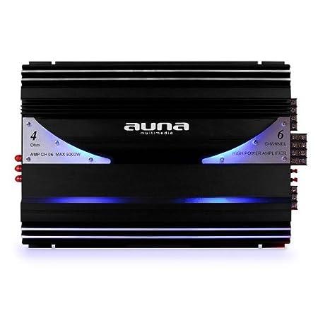 Auna AMP-CH02 20Hz-20kHz, Entr/ée RCA//Line, 2x sortie pour enceinte Ampli auto hybride bridgeable 1 ou 2 canaux de 190W RMS avec effets LED