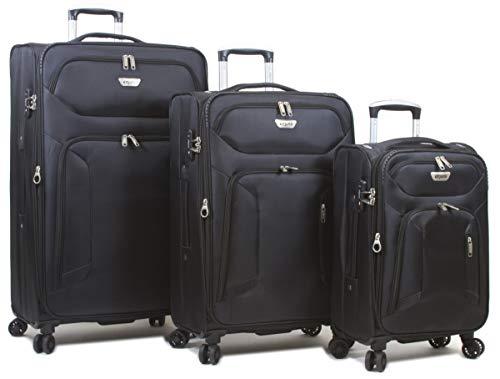Dejuno 25DJ-693-BLACK Cirrus Lightweight Nylon Spinner Luggage Set44; Black – 3 Piece