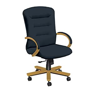 National Office Furniture Remedy High Back Executive Wood Office Chair, Honey Maple, Navy Faux Leather