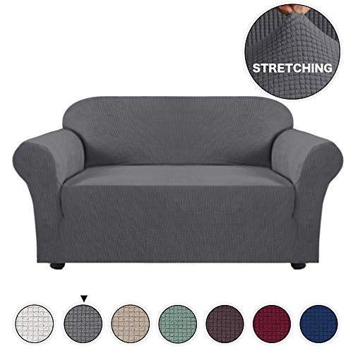 Turquoize High Stretch Loveseat Cover 1 Piece Stylish Furniture Cover/Protector with Jacquard Checked Sofa Cover Anti-Slip Foams, Machine Washable Loveseat Covers for Living Room(2 Seater, Gray) ()