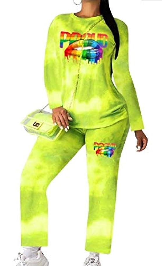 おびえた苛性少数Fly Year-JP 女性2ピース衣装ジョガーパンツセット+長袖タイ染料シャツ スポーツウェア