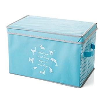 WEIAIXX Gran Cuadro De Tela No Tejida Ropa, Cajas De Juguetes, Cajas, Ordenar La Ropa Gabinete Caja De Almacenamiento Pequeño 38X25X11.5Cm Gran Sello Azul: ...