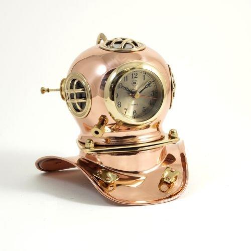 Bey-Berk International Copper and Brass Divers Helmet Clock Bey Berk International Brass